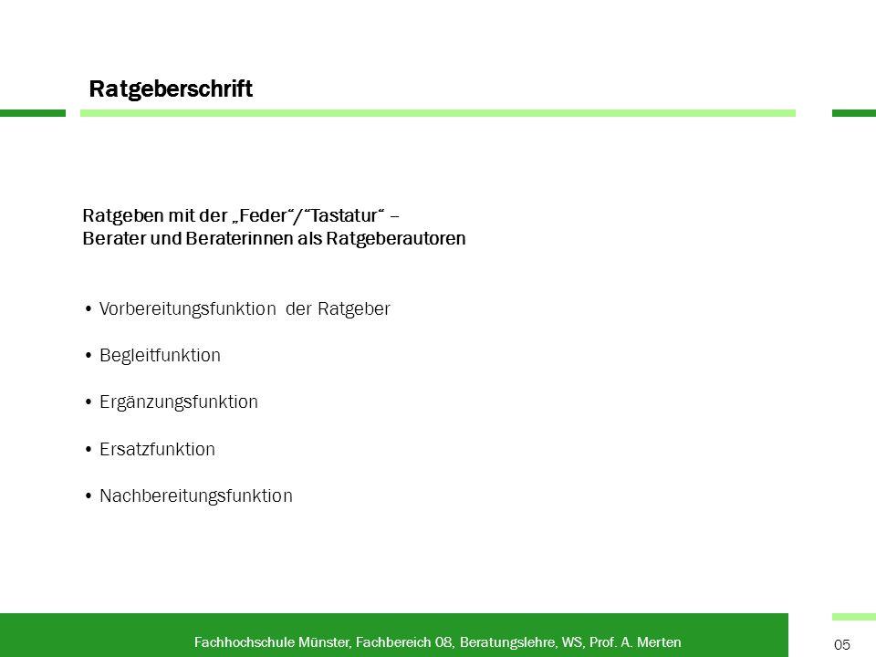 Anleitungstexte Fachhochschule Münster, Fachbereich 08, Beratungslehre, WS, Prof.