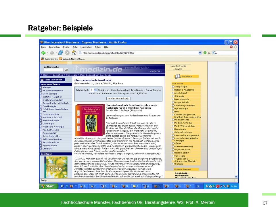 Ratgeben in Zeitschriften Fachhochschule Münster, Fachbereich 08, Beratungslehre, WS, Prof.