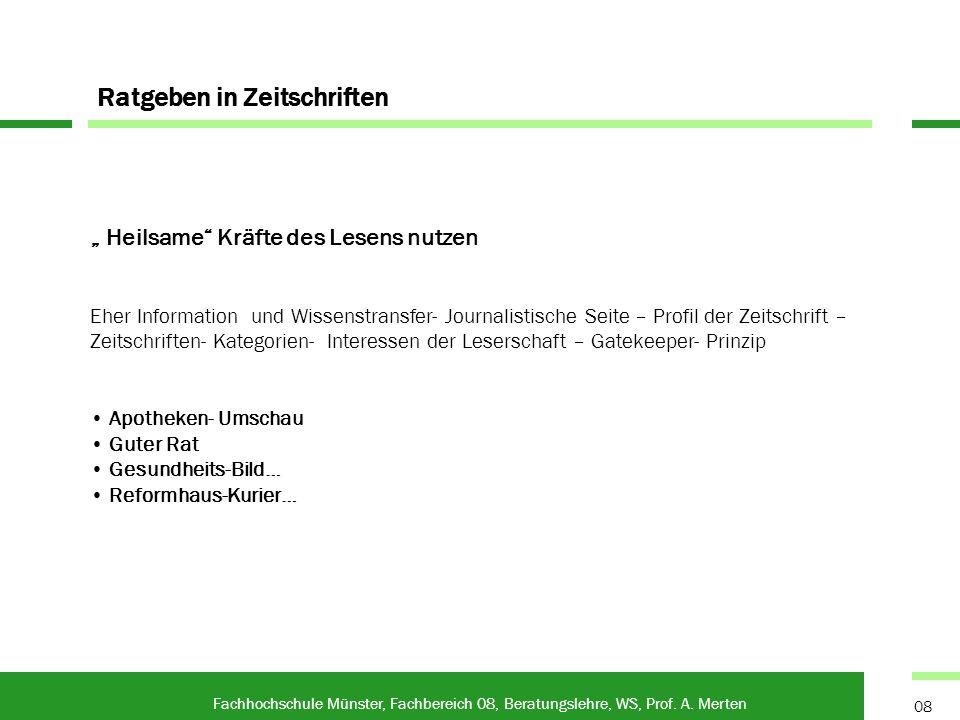 Ratgeber - Poster Fachhochschule Münster, Fachbereich 08, Beratungslehre, WS, Prof.