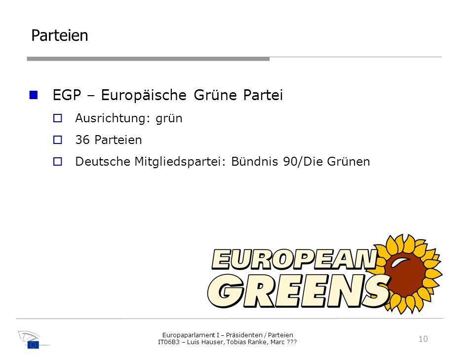 Parteien EGP – Europäische Grüne Partei Ausrichtung: grün 36 Parteien Deutsche Mitgliedspartei: Bündnis 90/Die Grünen 10 Europaparlament I – Präsident