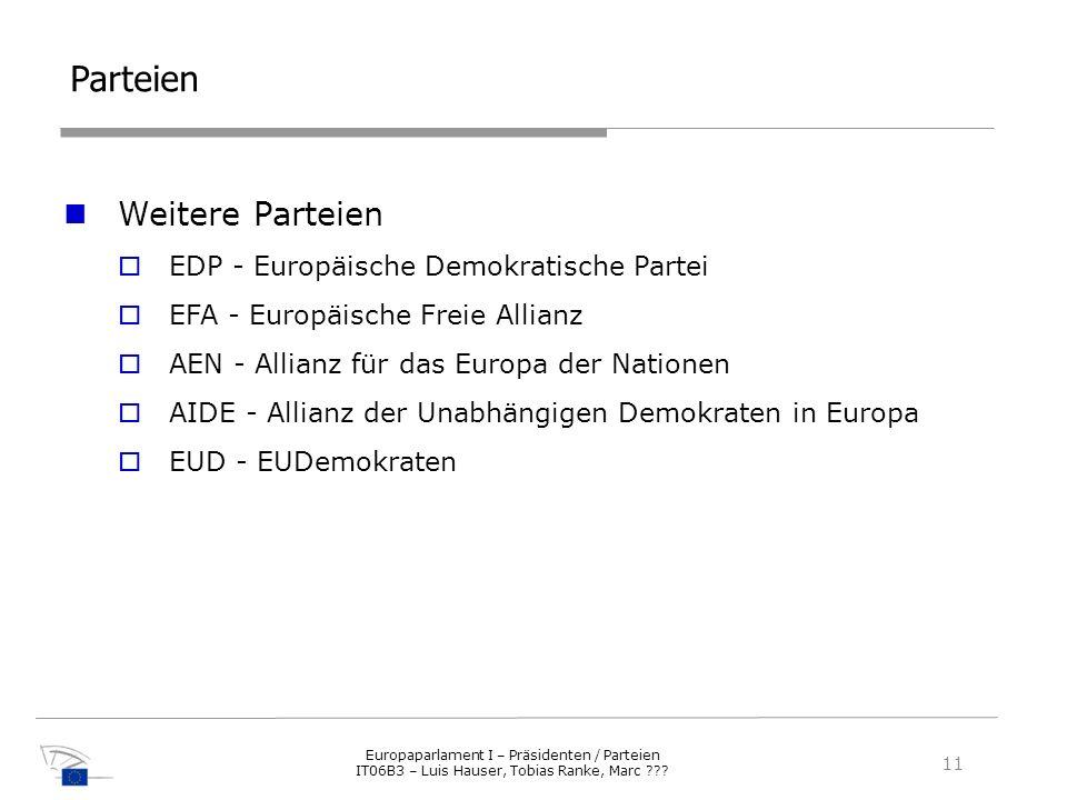 Parteien Weitere Parteien EDP - Europäische Demokratische Partei EFA - Europäische Freie Allianz AEN - Allianz für das Europa der Nationen AIDE - Alli