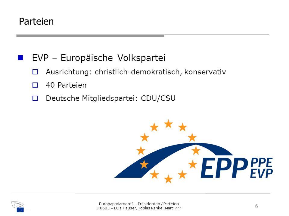 Parteien EVP – Europäische Volkspartei Ausrichtung: christlich-demokratisch, konservativ 40 Parteien Deutsche Mitgliedspartei: CDU/CSU 6 Europaparlame