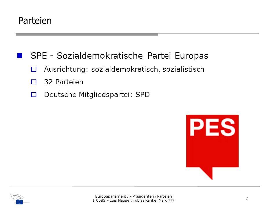 Parteien SPE - Sozialdemokratische Partei Europas Ausrichtung: sozialdemokratisch, sozialistisch 32 Parteien Deutsche Mitgliedspartei: SPD 7 Europapar