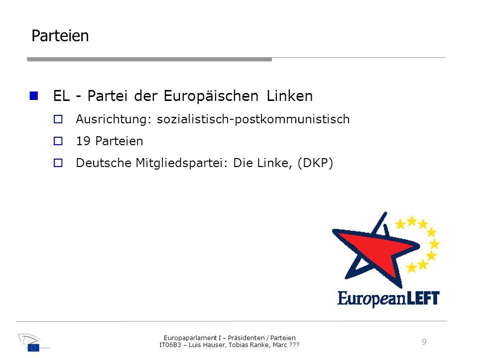 Parteien EL - Partei der Europäischen Linken Ausrichtung: sozialistisch-postkommunistisch 19 Parteien Deutsche Mitgliedspartei: Die Linke, (DKP) 9 Eur
