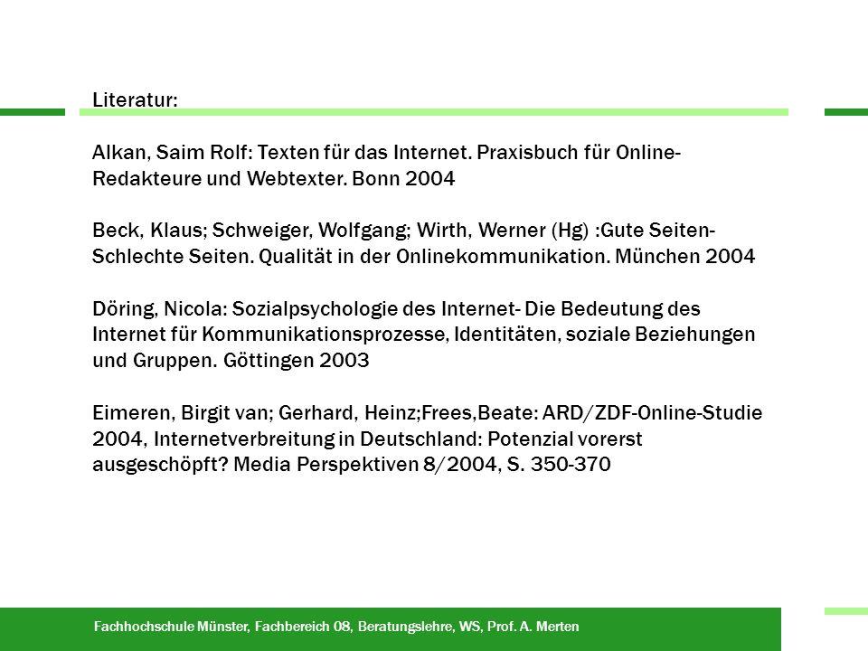 Fachhochschule Münster, Fachbereich 08, Beratungslehre, WS, Prof.
