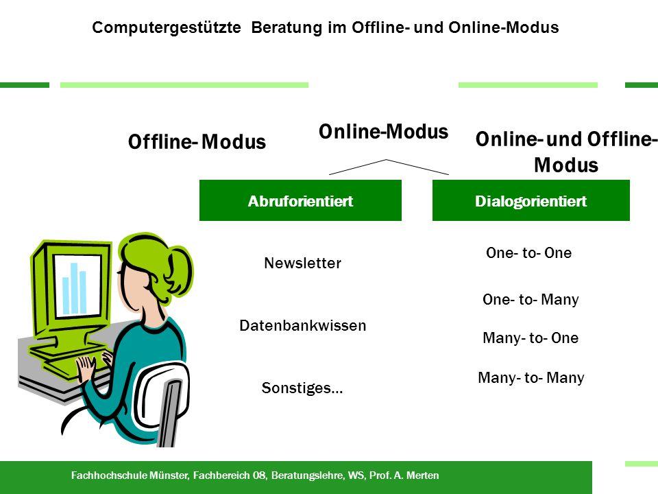 Fachhochschule Münster, Fachbereich 08, Beratungslehre, WS, Prof. A. Merten Rat auf Abruf