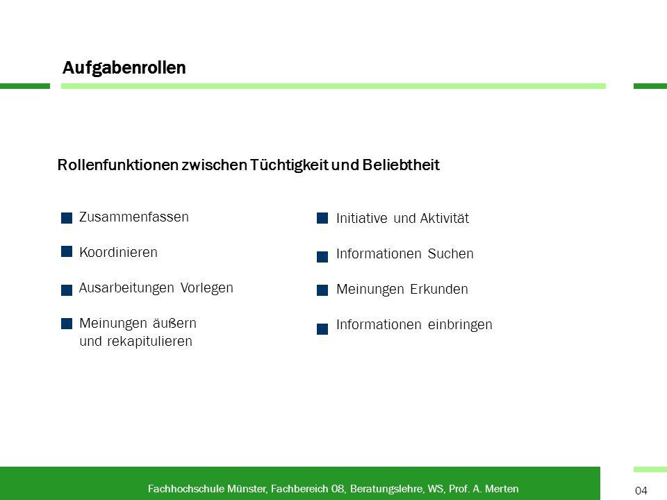 Rollenfunktionen zwischen Tüchtigkeit und Beliebtheit Fachhochschule Münster, Fachbereich 08, Beratungslehre, WS, Prof. A. Merten 04 Aufgabenrollen In