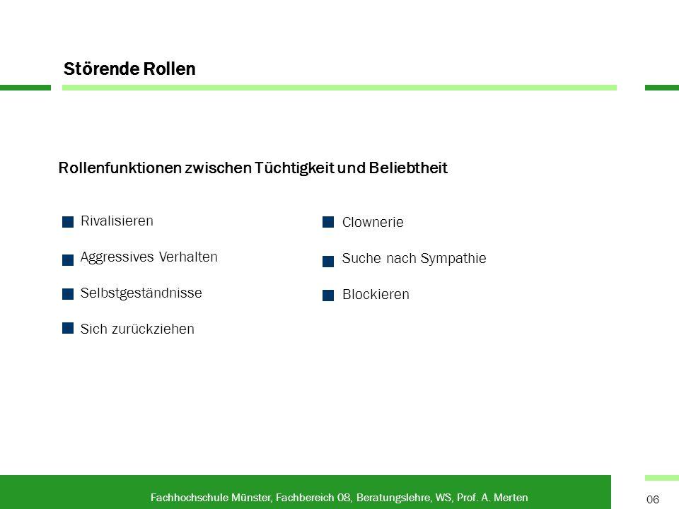 Rollenfunktionen zwischen Tüchtigkeit und Beliebtheit Fachhochschule Münster, Fachbereich 08, Beratungslehre, WS, Prof. A. Merten 06 Störende Rollen C