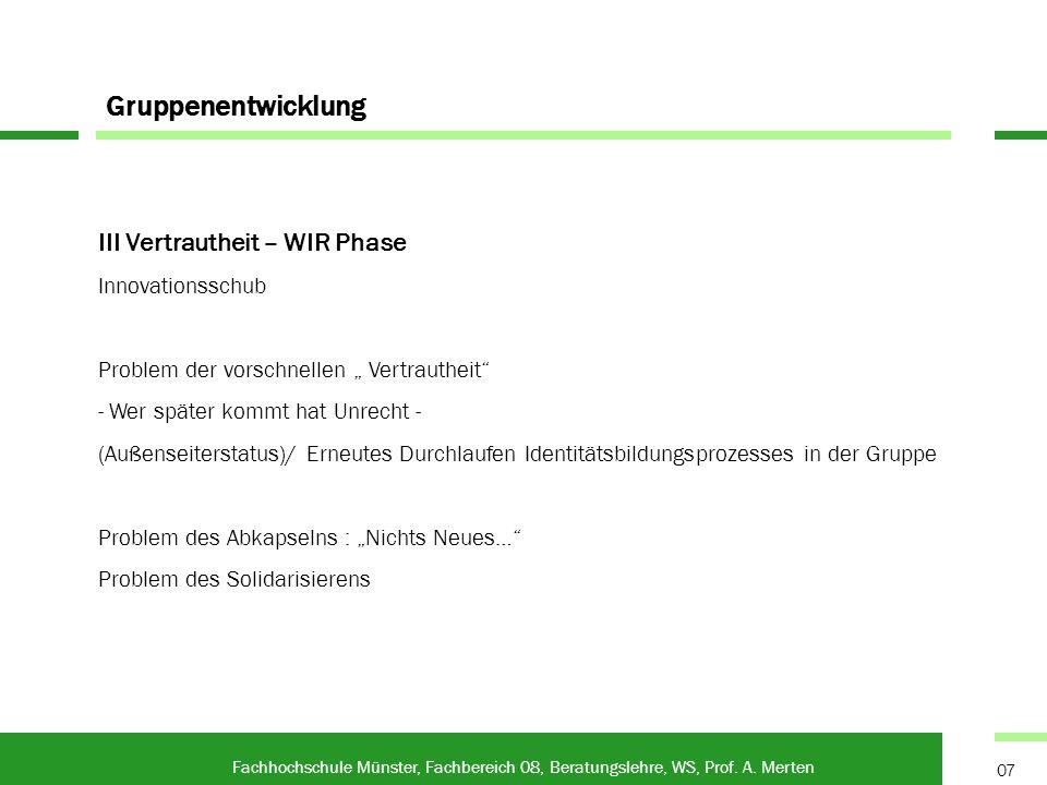 Gruppenentwicklung Fachhochschule Münster, Fachbereich 08, Beratungslehre, WS, Prof. A. Merten 07 III Vertrautheit – WIR Phase Innovationsschub Proble
