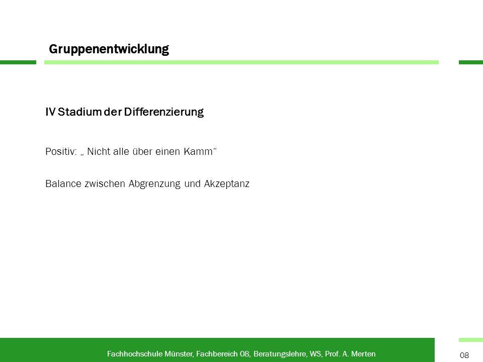 Gruppenentwicklung Fachhochschule Münster, Fachbereich 08, Beratungslehre, WS, Prof. A. Merten 08 IV Stadium der Differenzierung Positiv: Nicht alle ü