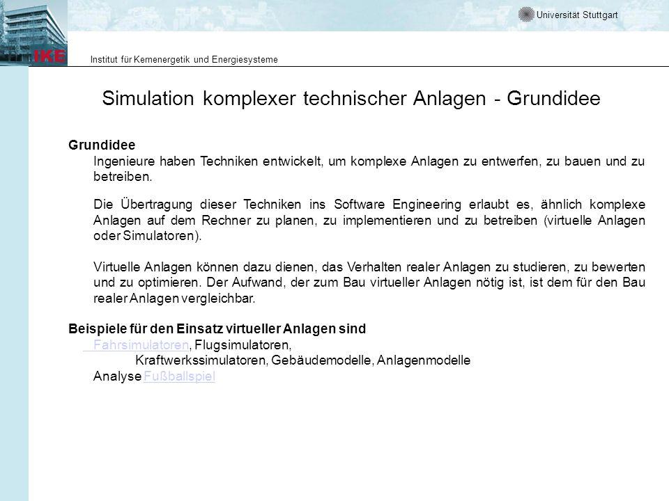 Universität Stuttgart Institut für Kernenergetik und Energiesysteme Simulation komplexer technischer Anlagen - Grundidee Grundidee Ingenieure haben Techniken entwickelt, um komplexe Anlagen zu entwerfen, zu bauen und zu betreiben.