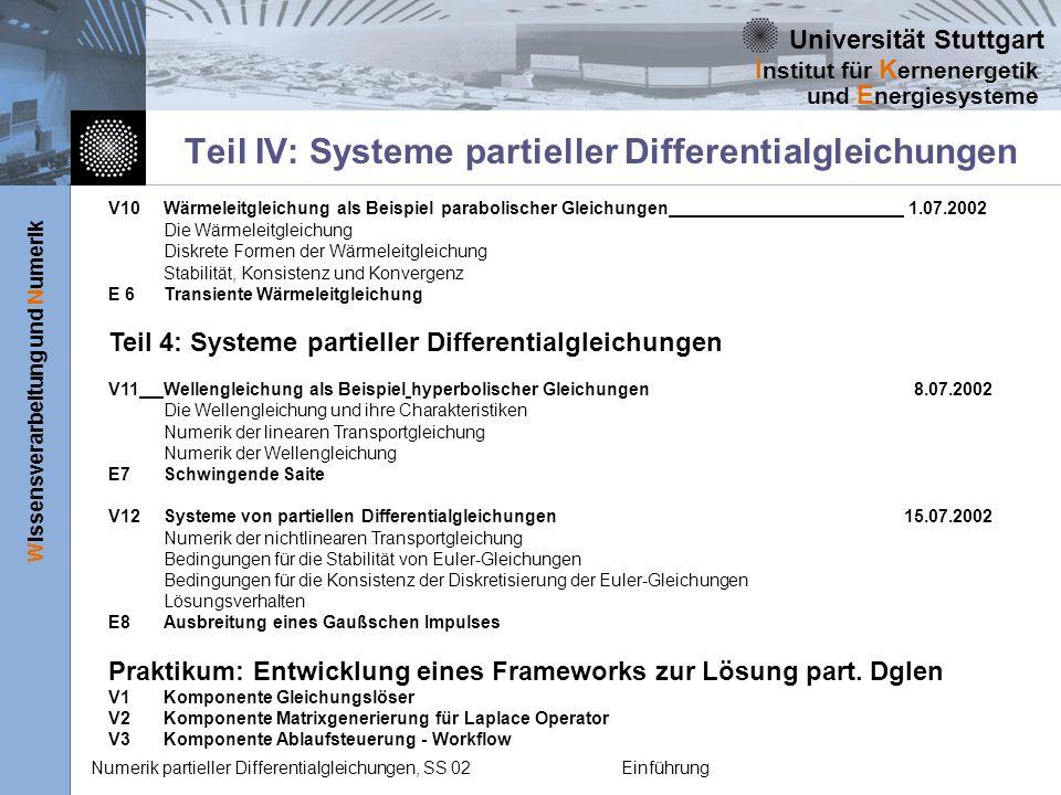 Universität Stuttgart Wissensverarbeitung und Numerik I nstitut für K ernenergetik und E nergiesysteme Numerik partieller Differentialgleichungen, SS 02Einführung V10Wärmeleitgleichung als Beispiel parabolischer Gleichungen 1.07.2002 Die Wärmeleitgleichung Diskrete Formen der Wärmeleitgleichung Stabilität, Konsistenz und Konvergenz E 6Transiente Wärmeleitgleichung Teil 4: Systeme partieller Differentialgleichungen V11Wellengleichung als Beispiel hyperbolischer Gleichungen 8.07.2002 Die Wellengleichung und ihre Charakteristiken Numerik der linearen Transportgleichung Numerik der Wellengleichung E7Schwingende Saite V12Systeme von partiellen Differentialgleichungen15.07.2002 Numerik der nichtlinearen Transportgleichung Bedingungen für die Stabilität von Euler-Gleichungen Bedingungen für die Konsistenz der Diskretisierung der Euler-Gleichungen Lösungsverhalten E8Ausbreitung eines Gaußschen Impulses Praktikum: Entwicklung eines Frameworks zur Lösung part.