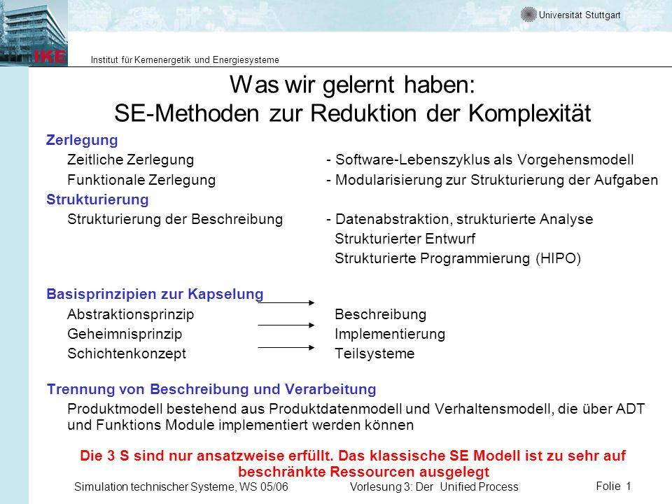 Universität Stuttgart Institut für Kernenergetik und Energiesysteme Simulation technischer Systeme, WS 05/06Vorlesung 3: Der Unified ProcessFolie 1 Wa