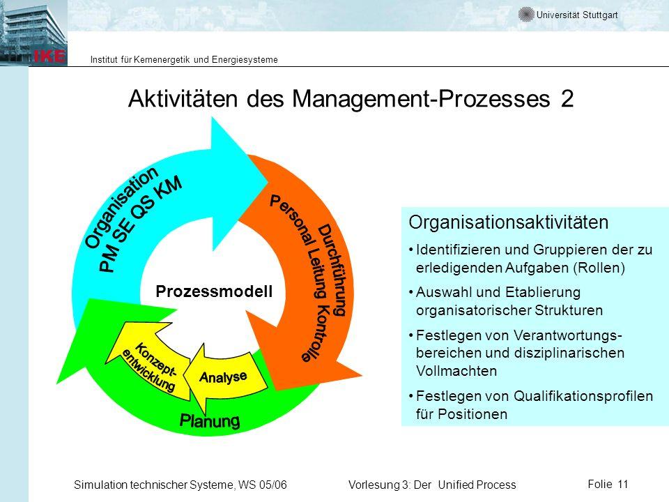 Universität Stuttgart Institut für Kernenergetik und Energiesysteme Simulation technischer Systeme, WS 05/06Vorlesung 3: Der Unified ProcessFolie 11 A