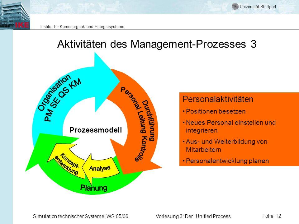 Universität Stuttgart Institut für Kernenergetik und Energiesysteme Simulation technischer Systeme, WS 05/06Vorlesung 3: Der Unified ProcessFolie 12 A