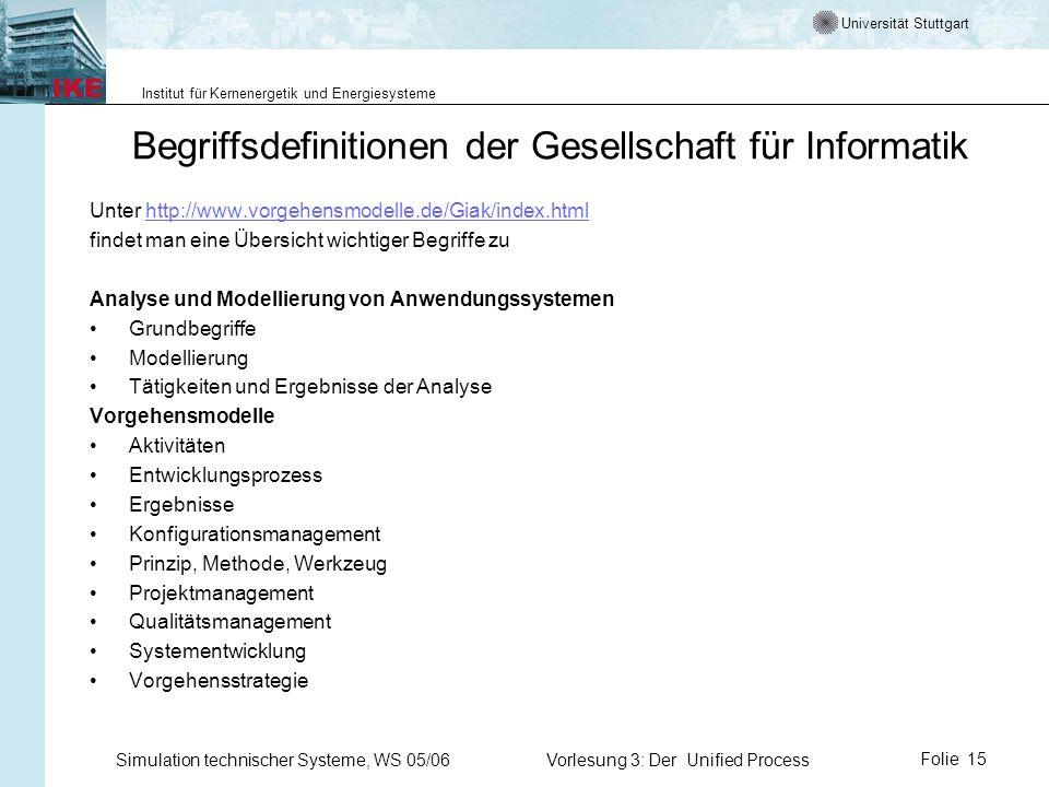 Universität Stuttgart Institut für Kernenergetik und Energiesysteme Simulation technischer Systeme, WS 05/06Vorlesung 3: Der Unified ProcessFolie 15 B