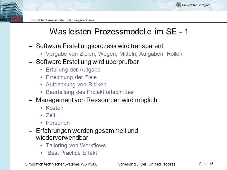 Universität Stuttgart Institut für Kernenergetik und Energiesysteme Simulation technischer Systeme, WS 05/06Vorlesung 3: Der Unified ProcessFolie 16 W