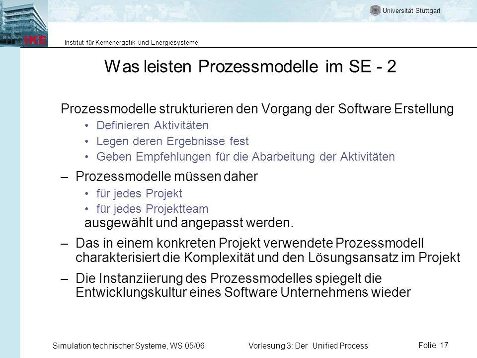 Universität Stuttgart Institut für Kernenergetik und Energiesysteme Simulation technischer Systeme, WS 05/06Vorlesung 3: Der Unified ProcessFolie 17 W
