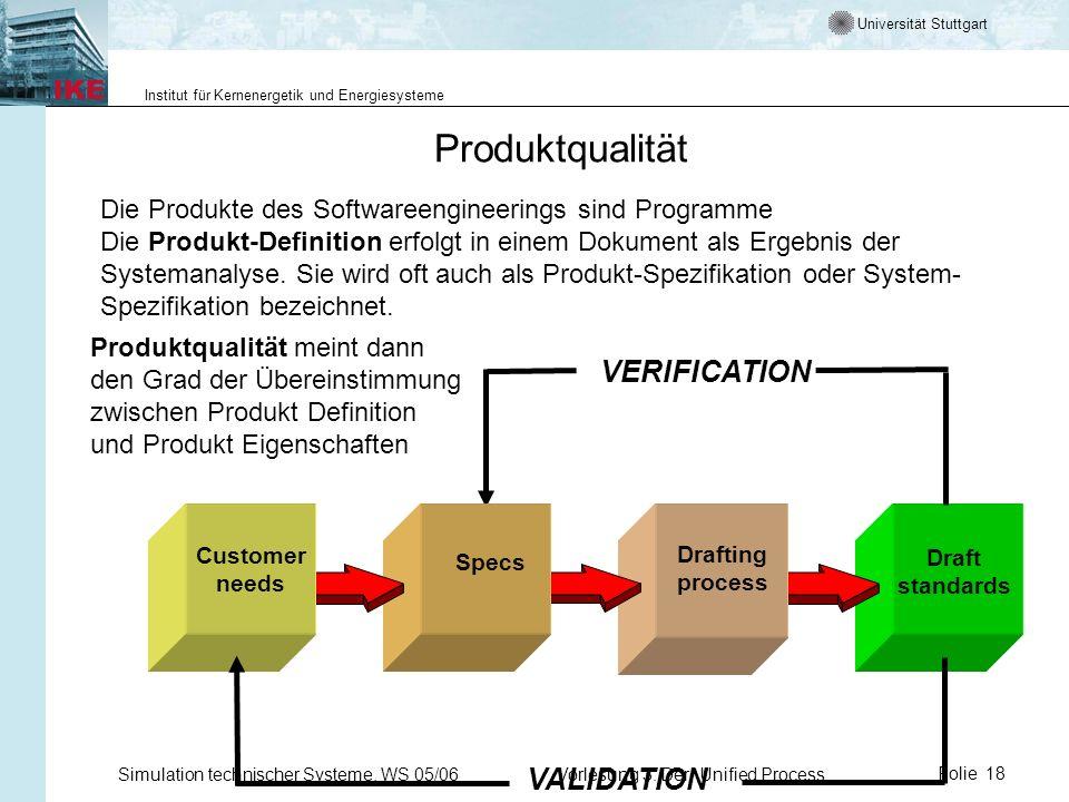 Universität Stuttgart Institut für Kernenergetik und Energiesysteme Simulation technischer Systeme, WS 05/06Vorlesung 3: Der Unified ProcessFolie 18 P
