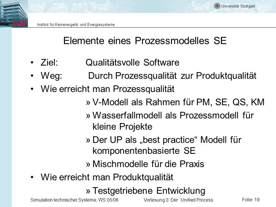 Universität Stuttgart Institut für Kernenergetik und Energiesysteme Simulation technischer Systeme, WS 05/06Vorlesung 3: Der Unified ProcessFolie 19 E