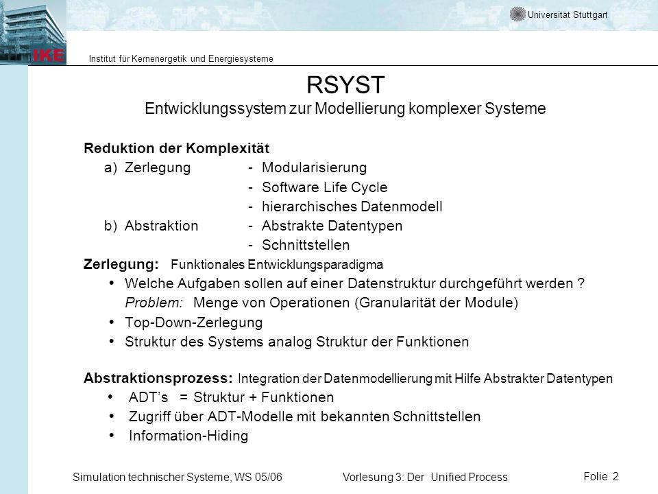 Universität Stuttgart Institut für Kernenergetik und Energiesysteme Simulation technischer Systeme, WS 05/06Vorlesung 3: Der Unified ProcessFolie 2 RS
