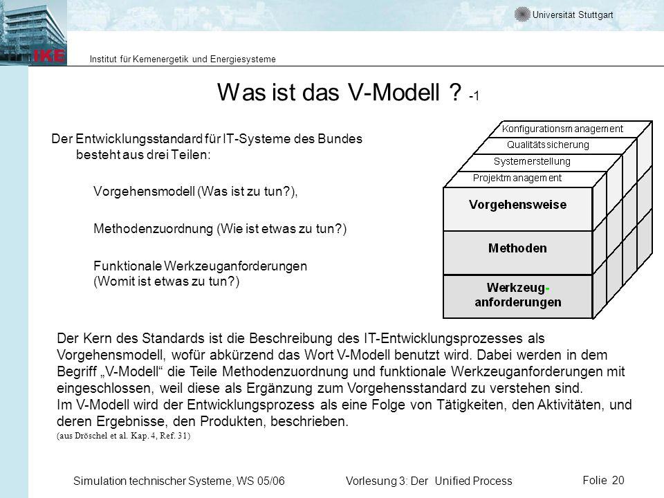Universität Stuttgart Institut für Kernenergetik und Energiesysteme Simulation technischer Systeme, WS 05/06Vorlesung 3: Der Unified ProcessFolie 20 W