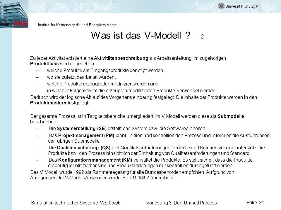 Universität Stuttgart Institut für Kernenergetik und Energiesysteme Simulation technischer Systeme, WS 05/06Vorlesung 3: Der Unified ProcessFolie 21 W