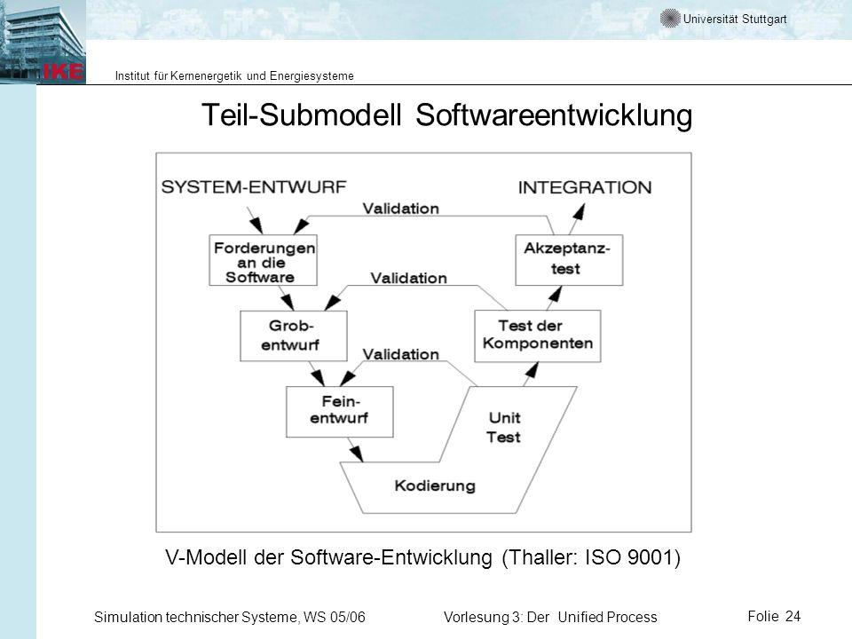 Universität Stuttgart Institut für Kernenergetik und Energiesysteme Simulation technischer Systeme, WS 05/06Vorlesung 3: Der Unified ProcessFolie 24 T