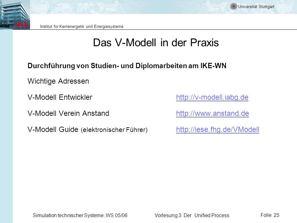 Universität Stuttgart Institut für Kernenergetik und Energiesysteme Simulation technischer Systeme, WS 05/06Vorlesung 3: Der Unified ProcessFolie 25 D