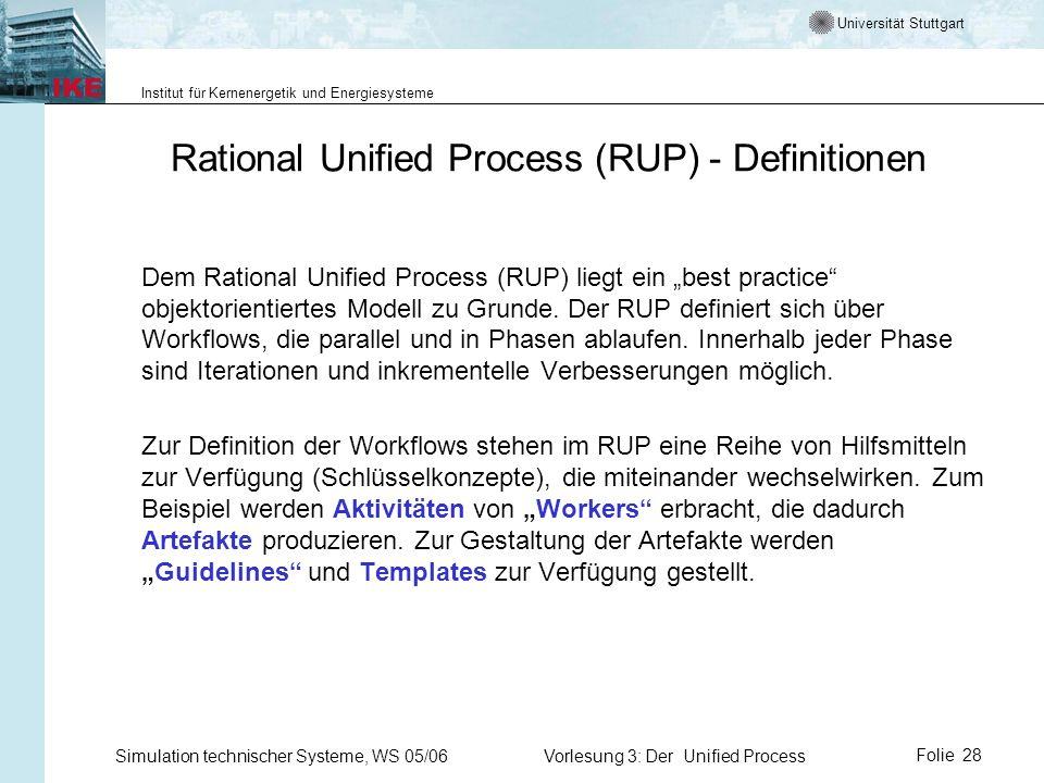 Universität Stuttgart Institut für Kernenergetik und Energiesysteme Simulation technischer Systeme, WS 05/06Vorlesung 3: Der Unified ProcessFolie 28 R