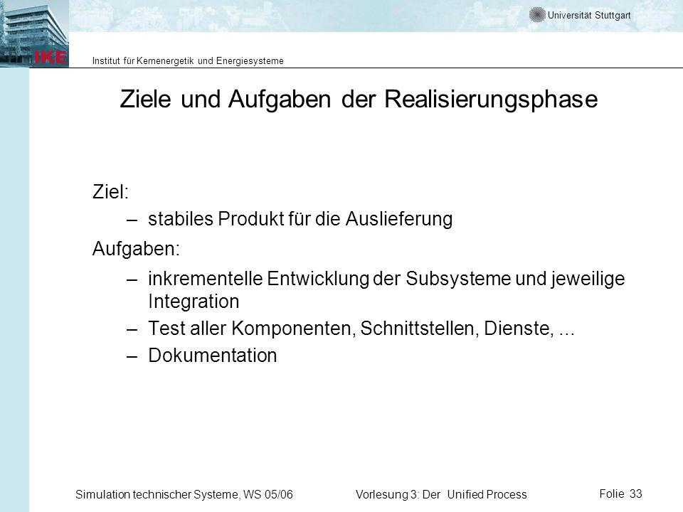 Universität Stuttgart Institut für Kernenergetik und Energiesysteme Simulation technischer Systeme, WS 05/06Vorlesung 3: Der Unified ProcessFolie 33 Z