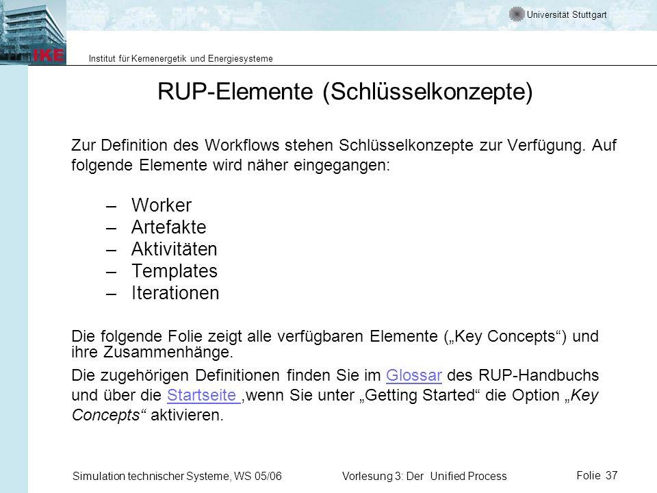 Universität Stuttgart Institut für Kernenergetik und Energiesysteme Simulation technischer Systeme, WS 05/06Vorlesung 3: Der Unified ProcessFolie 37 R