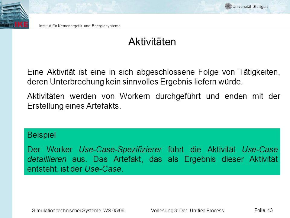 Universität Stuttgart Institut für Kernenergetik und Energiesysteme Simulation technischer Systeme, WS 05/06Vorlesung 3: Der Unified ProcessFolie 43 A