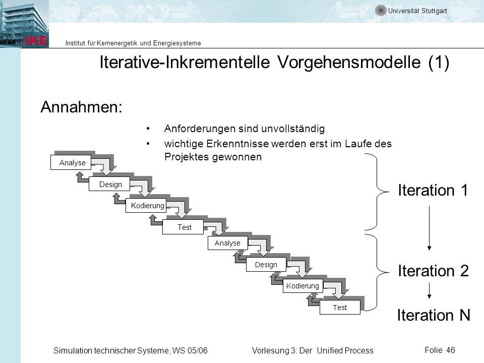 Universität Stuttgart Institut für Kernenergetik und Energiesysteme Simulation technischer Systeme, WS 05/06Vorlesung 3: Der Unified ProcessFolie 46 I