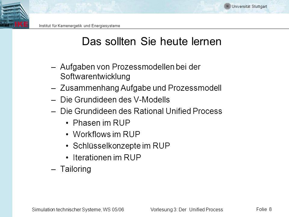 Universität Stuttgart Institut für Kernenergetik und Energiesysteme Simulation technischer Systeme, WS 05/06Vorlesung 3: Der Unified ProcessFolie 8 Da