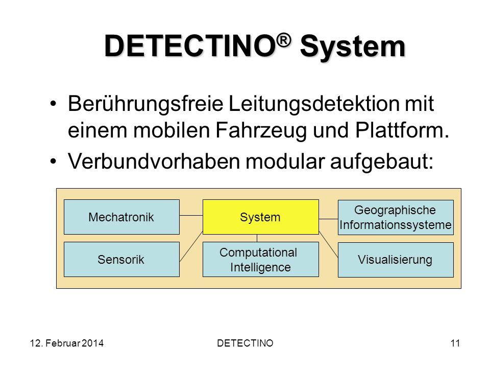 12. Februar 2014DETECTINO11 DETECTINO ® System Berührungsfreie Leitungsdetektion mit einem mobilen Fahrzeug und Plattform. Verbundvorhaben modular auf