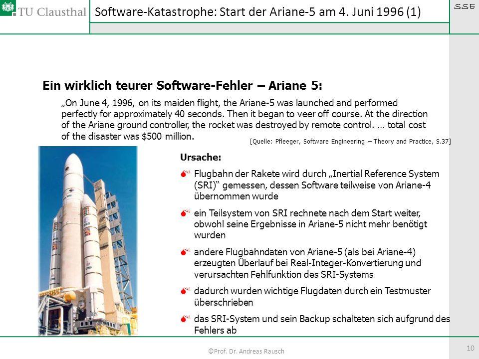 SSE ©Prof. Dr. Andreas Rausch 10 Software-Katastrophe: Start der Ariane-5 am 4. Juni 1996 (1) Ein wirklich teurer Software-Fehler – Ariane 5: On June