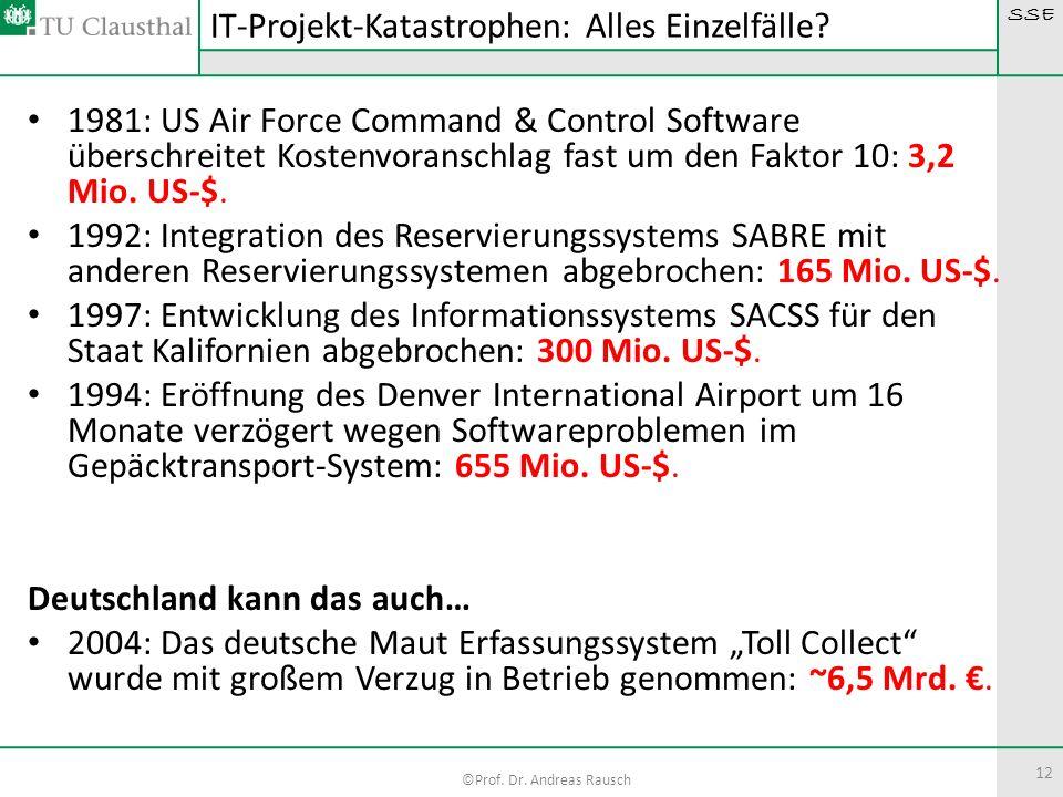 SSE ©Prof. Dr. Andreas Rausch 12 1981: US Air Force Command & Control Software überschreitet Kostenvoranschlag fast um den Faktor 10: 3,2 Mio. US-$. 1