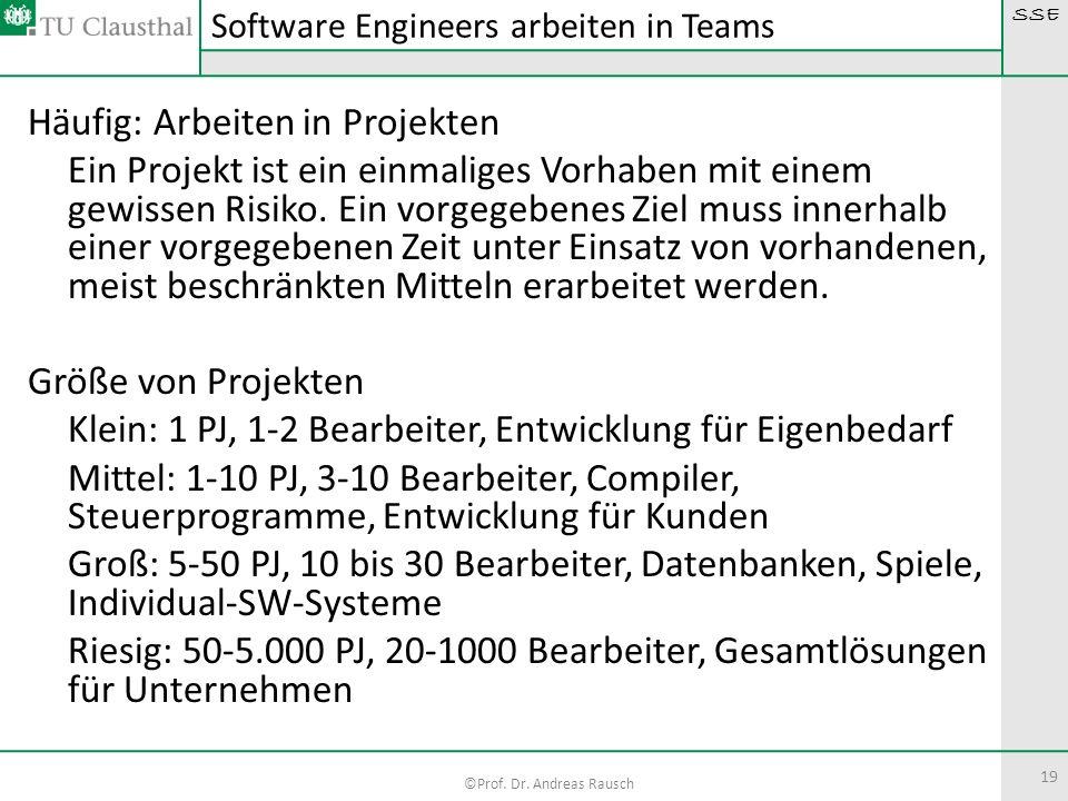 SSE ©Prof. Dr. Andreas Rausch 19 Häufig: Arbeiten in Projekten Ein Projekt ist ein einmaliges Vorhaben mit einem gewissen Risiko. Ein vorgegebenes Zie