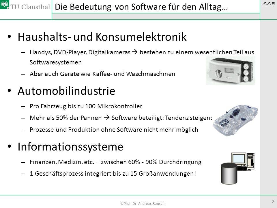 SSE ©Prof. Dr. Andreas Rausch Haushalts- und Konsumelektronik – Handys, DVD-Player, Digitalkameras bestehen zu einem wesentlichen Teil aus Softwaresys