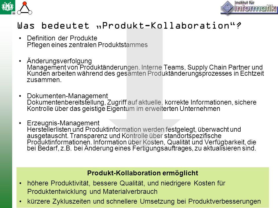 Was bedeutet Produkt-Kollaboration? Definition der Produkte P flegen eines zentralen Produktstammes Änderungsverfolgung Management von Produktänderung