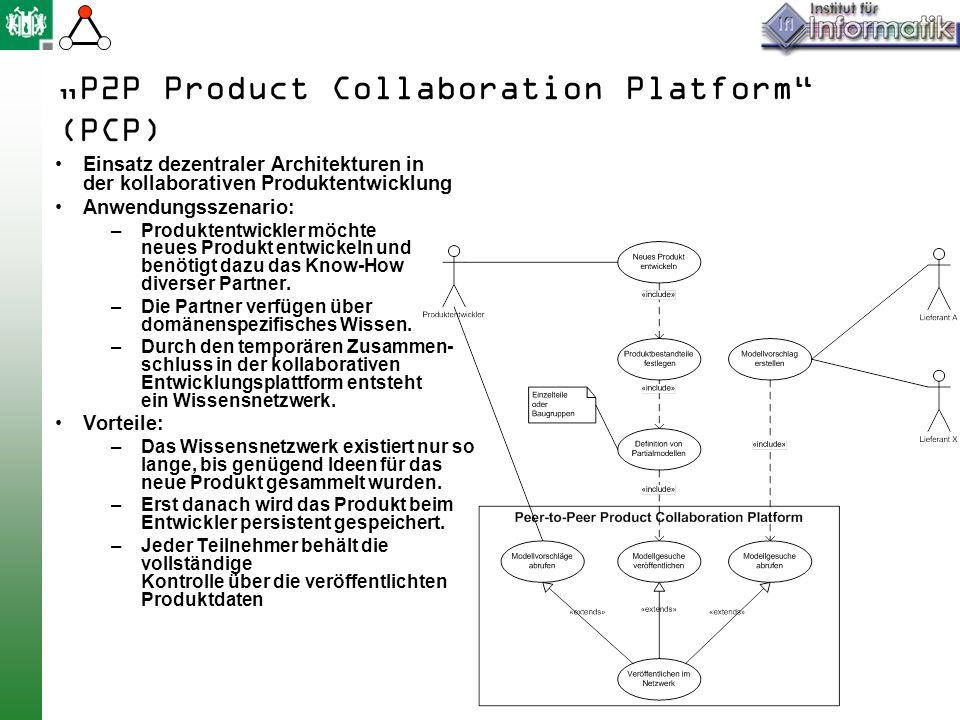P2P Product Collaboration Platform (PCP) Einsatz dezentraler Architekturen in der kollaborativen Produktentwicklung Anwendungsszenario: –Produktentwickler möchte neues Produkt entwickeln und benötigt dazu das Know-How diverser Partner.