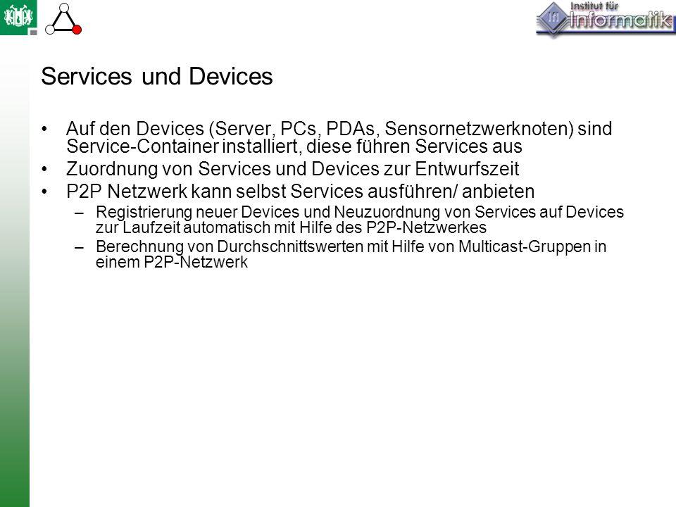 Services und Devices Auf den Devices (Server, PCs, PDAs, Sensornetzwerknoten) sind Service-Container installiert, diese führen Services aus Zuordnung von Services und Devices zur Entwurfszeit P2P Netzwerk kann selbst Services ausführen/ anbieten –Registrierung neuer Devices und Neuzuordnung von Services auf Devices zur Laufzeit automatisch mit Hilfe des P2P-Netzwerkes –Berechnung von Durchschnittswerten mit Hilfe von Multicast-Gruppen in einem P2P-Netzwerk