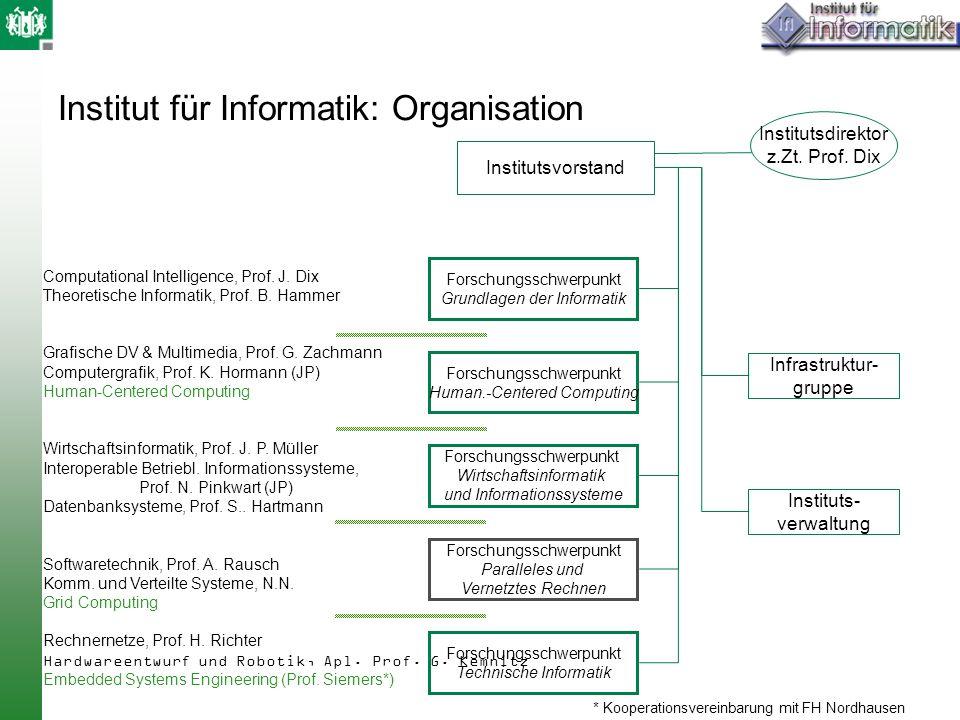 Institut für Informatik: Organisation Infrastruktur- gruppe Instituts- verwaltung Institutsvorstand Institutsdirektor z.Zt. Prof. Dix Forschungsschwer