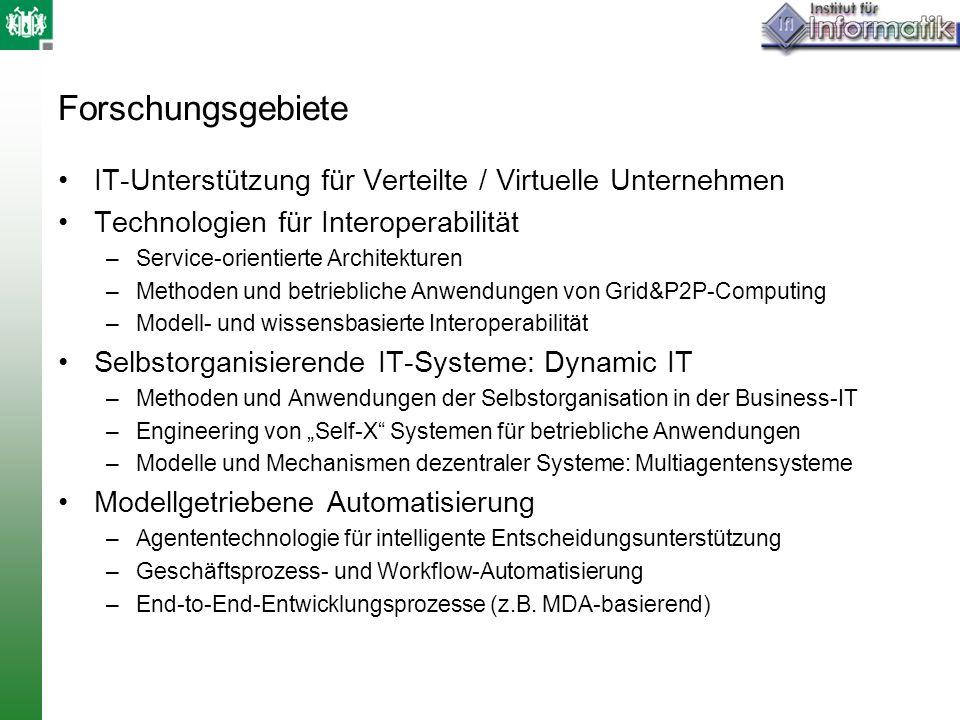 Forschungsgebiete IT-Unterstützung für Verteilte / Virtuelle Unternehmen Technologien für Interoperabilität –Service-orientierte Architekturen –Method