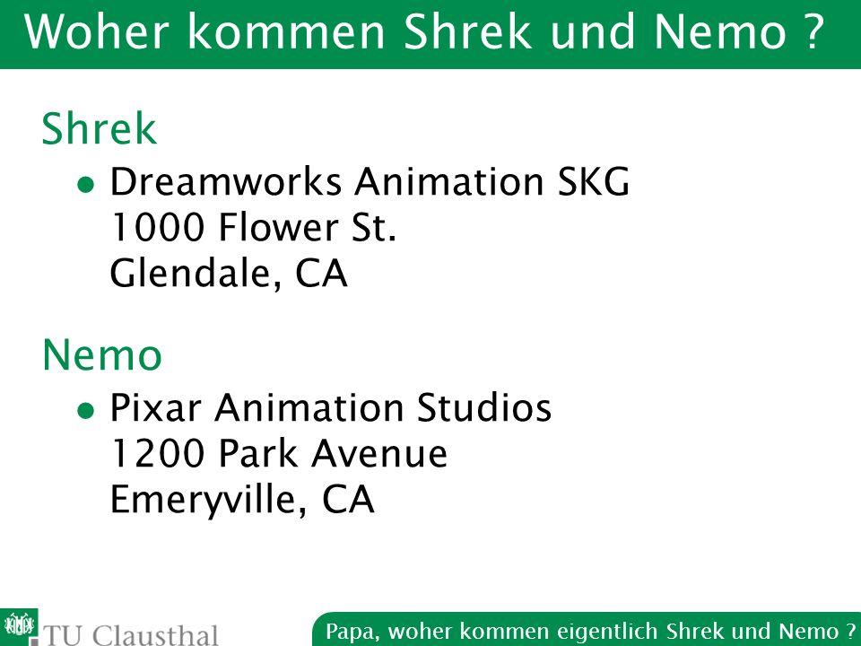 Papa, woher kommen eigentlich Shrek und Nemo . Woher kommen Shrek und Nemo .