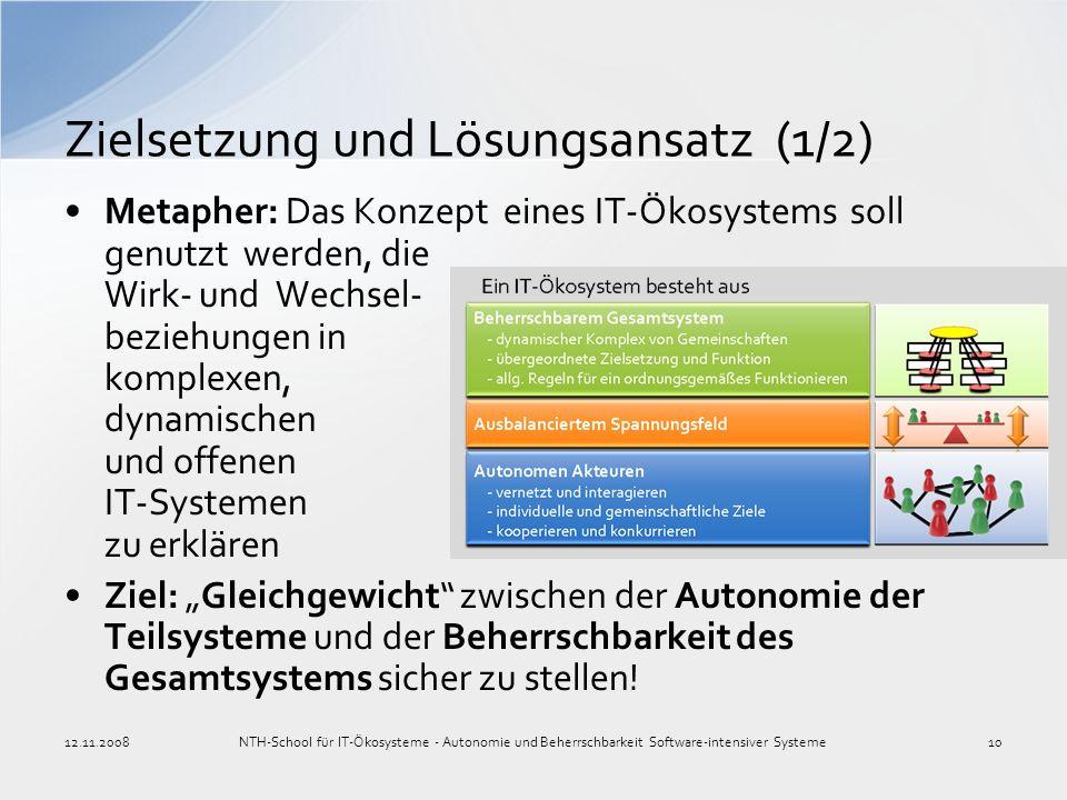 Zielsetzung und Lösungsansatz (1/2) 12.11.2008NTH-School für IT-Ökosysteme - Autonomie und Beherrschbarkeit Software-intensiver Systeme10 Metapher: Da