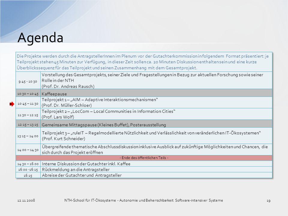Agenda 12.11.2008NTH-School für IT-Ökosysteme - Autonomie und Beherrschbarkeit Software-intensiver Systeme19