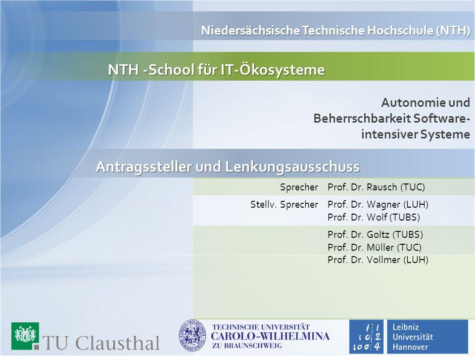 NTH -School für IT-Ökosysteme NTH -School für IT-Ökosysteme Autonomie und Beherrschbarkeit Software- intensiver Systeme Niedersächsische Technische Ho