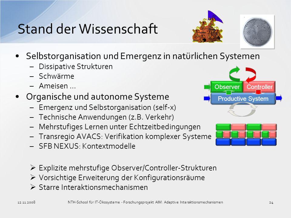Selbstorganisation und Emergenz in natürlichen Systemen –Dissipative Strukturen –Schwärme –Ameisen... Organische und autonome Systeme –Emergenz und Se